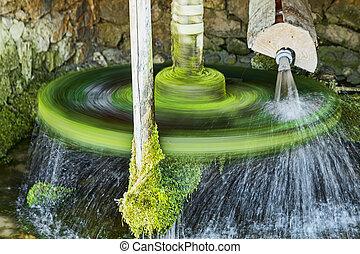 roue eau, écologique, rotation, énergie