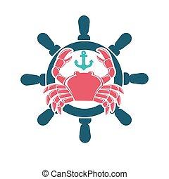 roue, emblème, menu, fruits mer, crabe, direction, rouges