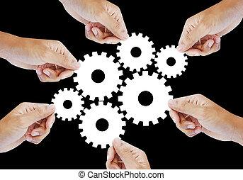 roue, engrenage, concept, collaboration, dent