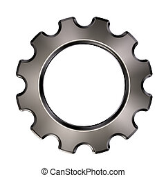 roue, engrenage, -, métal, illustration, fond, blanc, 3d
