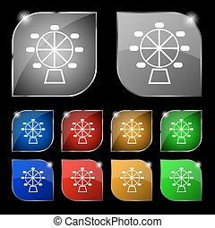 roue, ensemble, coloré, dix, signe., glare., boutons, ferris, vecteur, icône