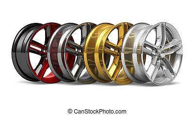 roue, ensemble, disques
