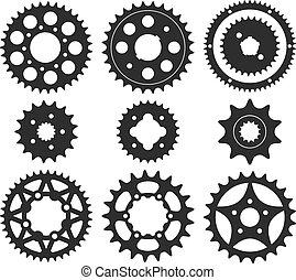 roue, ensemble, engrenage, icônes