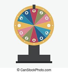 roue, ensemble, fortune, icones affaires
