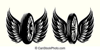 roue, ensemble, -, motifs, vecteur, monochrome, ailes