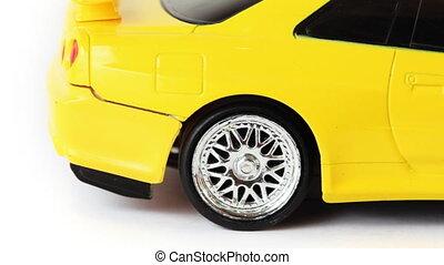 roue, erreurs, voiture jouet, jaune, radio-controlled, fond...