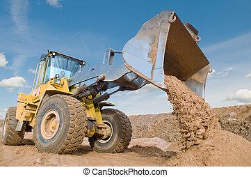 roue, excavation, fonctionnement, chargeur