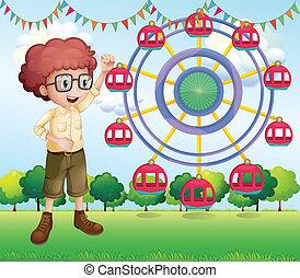 roue, ferris, adolescent, heureux