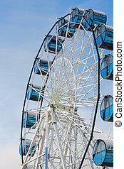 roue, ferris, bleu, contre, sky.