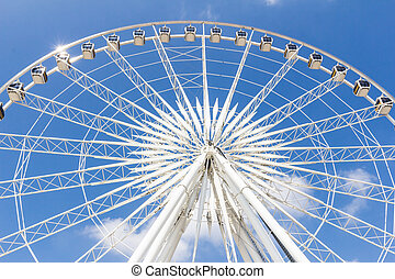 roue, ferris, ciel bleu, contre