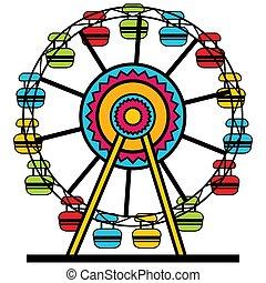 roue, ferris, dessin animé, icône