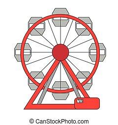 roue, ferris, icône