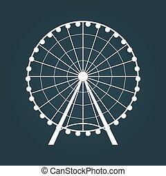 roue, ferris, icon.