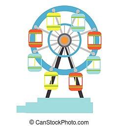 roue, ferris, isolé, carnaval, icône