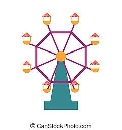 roue, ferris, isolé, icône