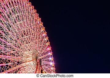 roue, ferris, nuit