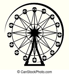 roue, ferris, park., silhouette, amusement