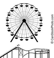 roue, ferris, silhouette, caboteur rouleau