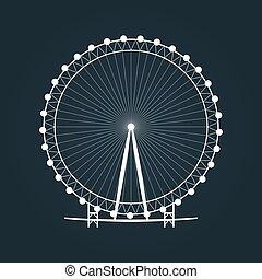roue, ferris, silhouette.
