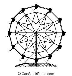 roue, ferris, silhouette