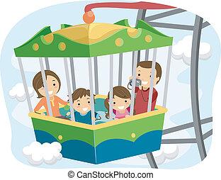 roue, ferris, stickman, famille