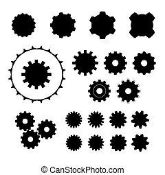 roue, forme, ensemble, variations, dent