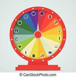 roue, fortune, icons., business