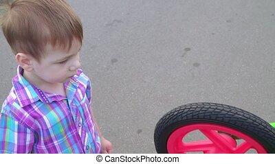 roue, garçon, rotation, vélo, équilibre