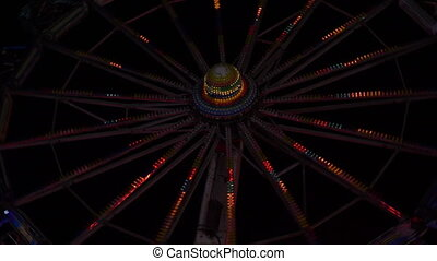 roue, grand, ferry-boat, nuit