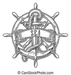 roue, gravure, marine., vendange, titre, isolé, illustration, arrière-plan., vecteur, blanc, ancre, ruban