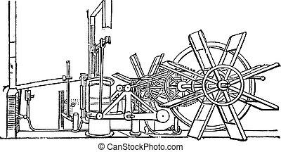 roue, gravure, vendange, clermont, pagaie, bateau, vapeur, ...