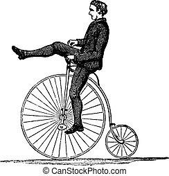 roue, gravure, vendange, vélo, élevé, penny-farthing, ou