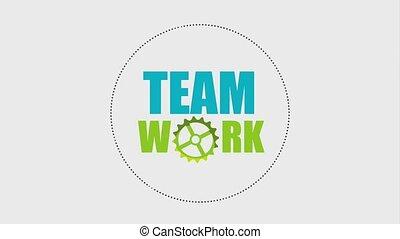 roue, groupe, gens, équipe travail, tourner