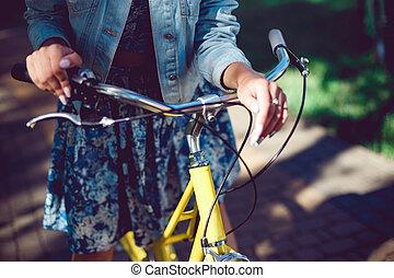 roue, haut, bicycle., femelle transmet, fin
