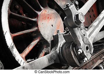 roue, haut, détail, train, fin, vapeur