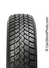 roue, hiver, automobile, isolé, une, pneu, voiture