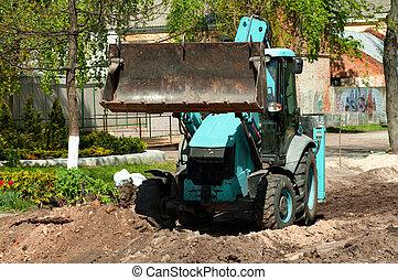 roue, houe, excavateur, dos, chargeur, sable, chargement