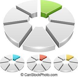 roue, icônes, couleur, Diagramme, isolé, fond, vecteur, blanc,  segment,  3D