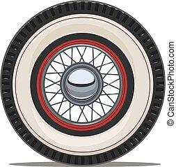 roue, illustration., vendange, vecteur, voiture, rayon
