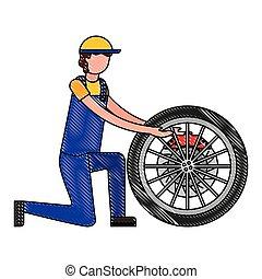 roue, industrie automotrice, frein, mécanicien, voiture
