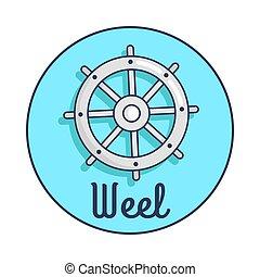 roue, inscription, s, dépeindre, bannière, bateau