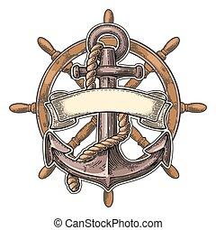 roue, isolé, arrière-plan., beige, ancre, ruban