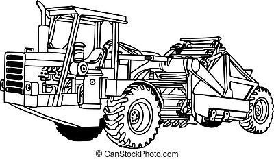 roue, isolated., racloir, illustration, main, vecteur, doodles, dessiné, tracteur