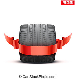 roue, large, voiture, gagnant, sports, course, ruban