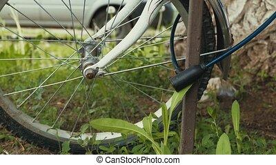 roue, lent, vélo, mouvement, vidéo, closeup