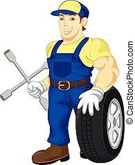 roue, mécanicien, tenue