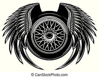 roue, modèle, monochrome, vecteur, wings.