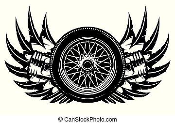 roue, modèle, vecteur, pistons, monochrome, ailes