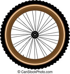 roue, montagne, isolé, vélo, devant, blanc
