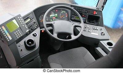 roue, montré, autobus, intérieur, tableau bord, taxi, sien,...
